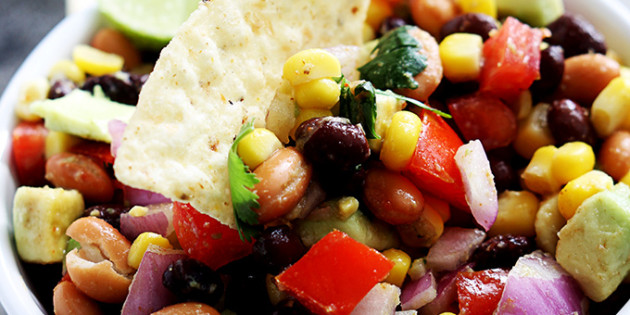 bean salsa with corn, avocado and tomatoes
